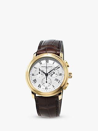 Frédérique Constant FC-292MC4P5 Men's Classics Chronograph Leather Strap Watch, Brown