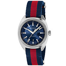 Buy Gucci YA142304 Men's GG2570 Date Fabric Strap Watch, Navy/Red Online at johnlewis.com