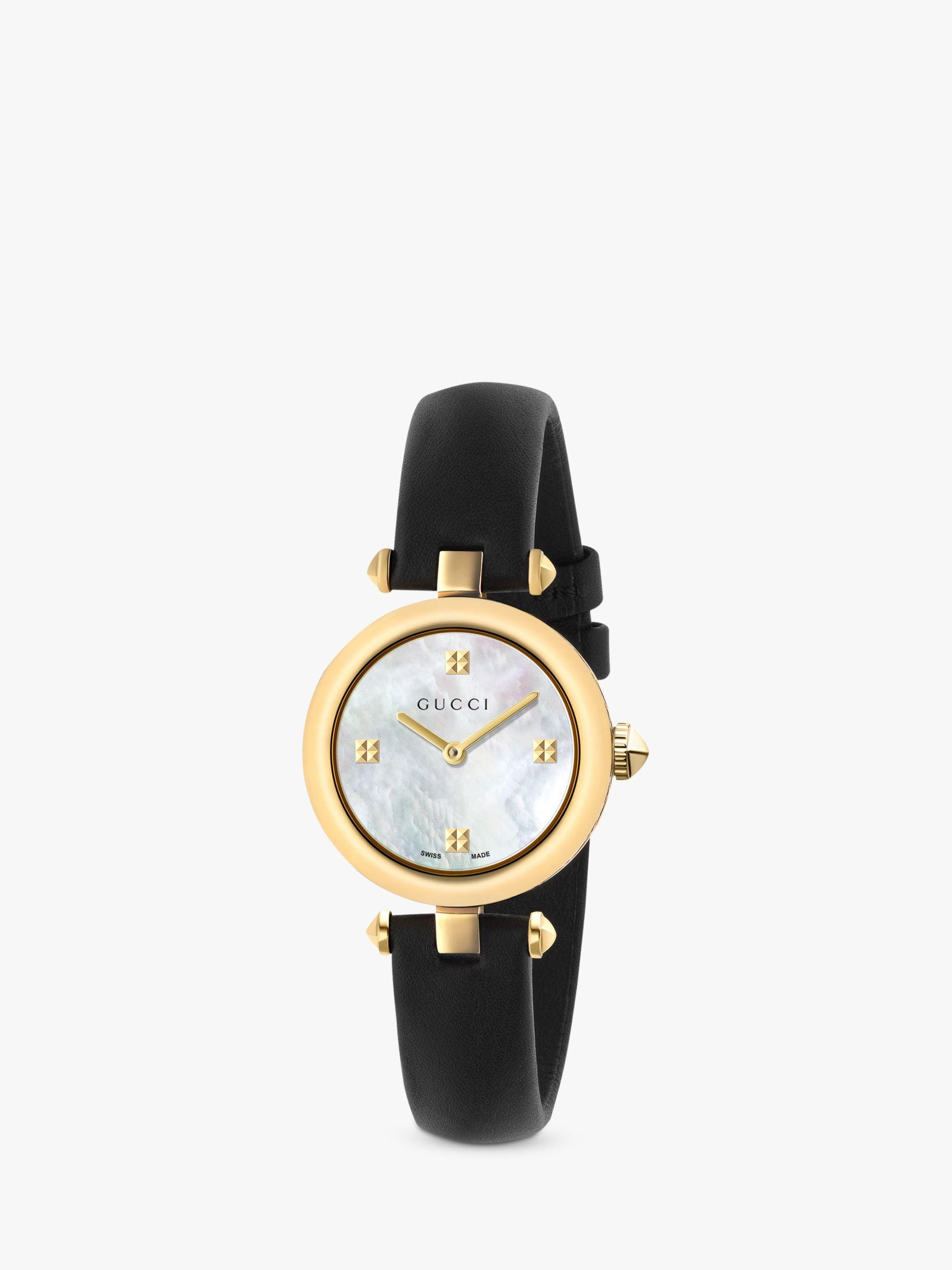 Gucci Gucci YA141505 Women's Diamantissima Leather Strap Watch, Black/White