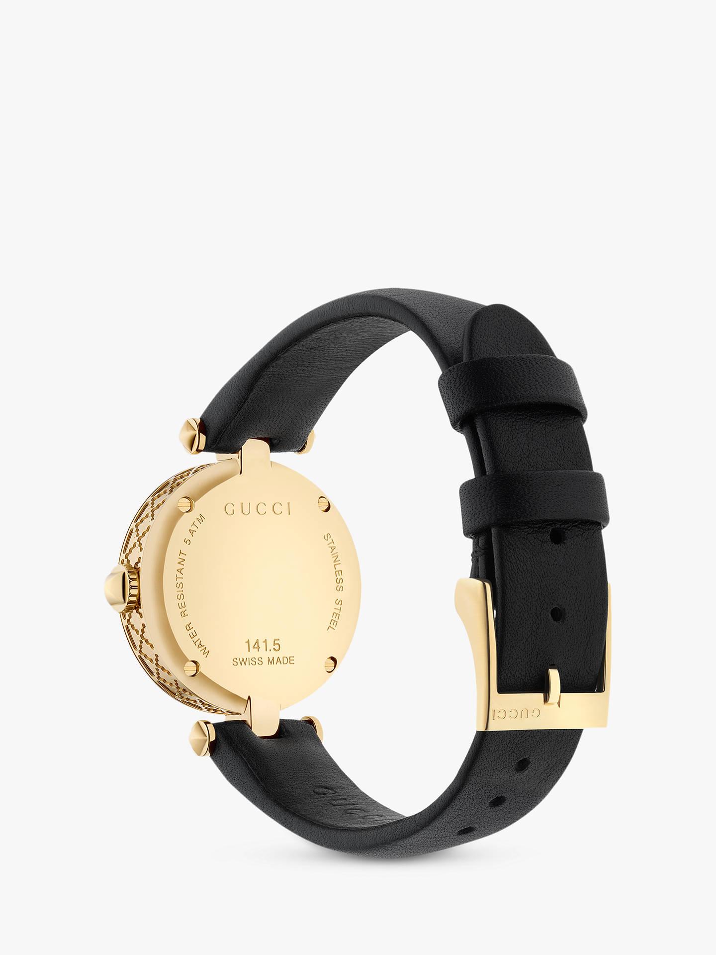5ceb6aac Gucci YA141505 Women's Diamantissima Leather Strap Watch, Black/White