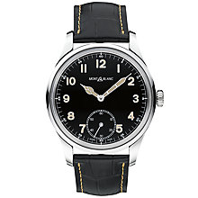 Buy Montblanc 113860 Men's 1858 Leather Strap Watch, Black Online at johnlewis.com