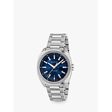Buy Gucci YA142205 Men's GG2570 Date Bracelet Strap Watch, Silver/Navy Online at johnlewis.com