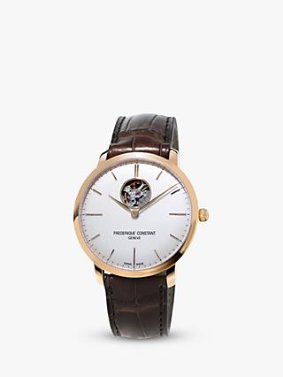 Frédérique Constant FC-312V4S4 Men's Slimline Open Heart Leather Strap Watch, Brown/White