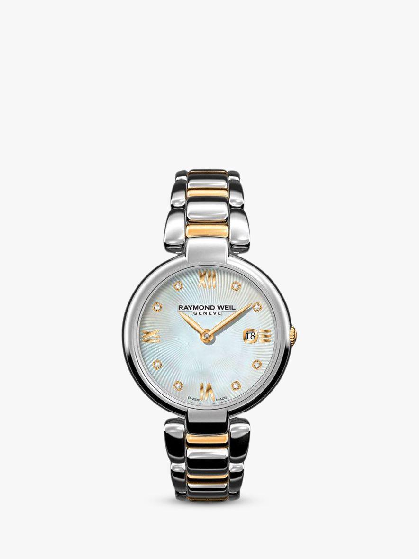 Raymond Weil Raymond Weil 1600-STP-0099 Women's Shine Date Diamond Two Tone Bracelet Strap Watch, Silver/Gold