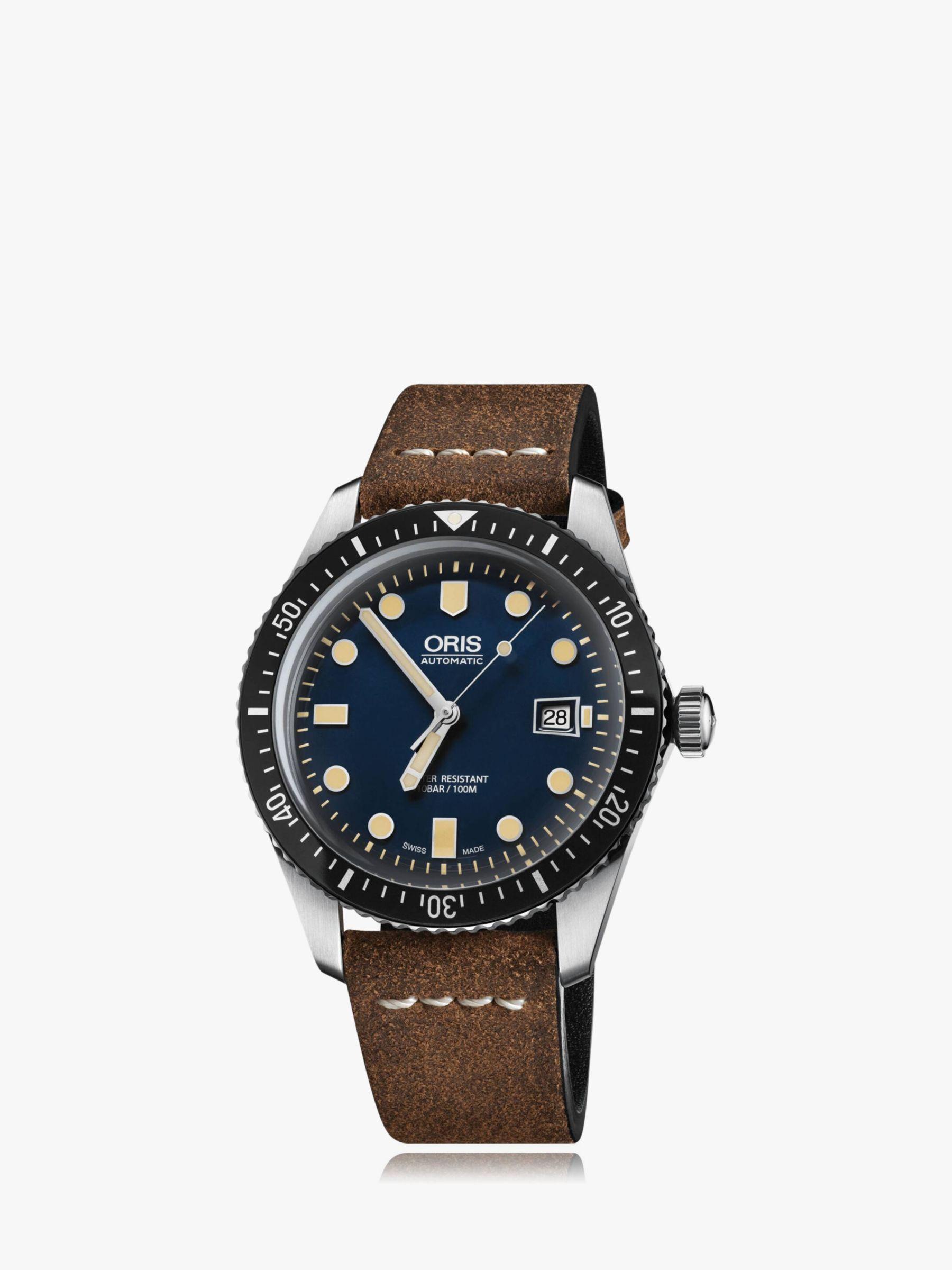 Oris Oris 733 7720 4055-07 5 21 02 Men's Artelier Automatic Date Leather Strap Watch, Brown/Navy