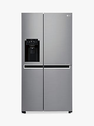 LG GSL761PZXV American-Style 70/30 Freestanding Fridge Freezer, A+ Energy Rating, 90cm Wide, Non-Plumbed Water and Ice Dispenser, Shiny Steel