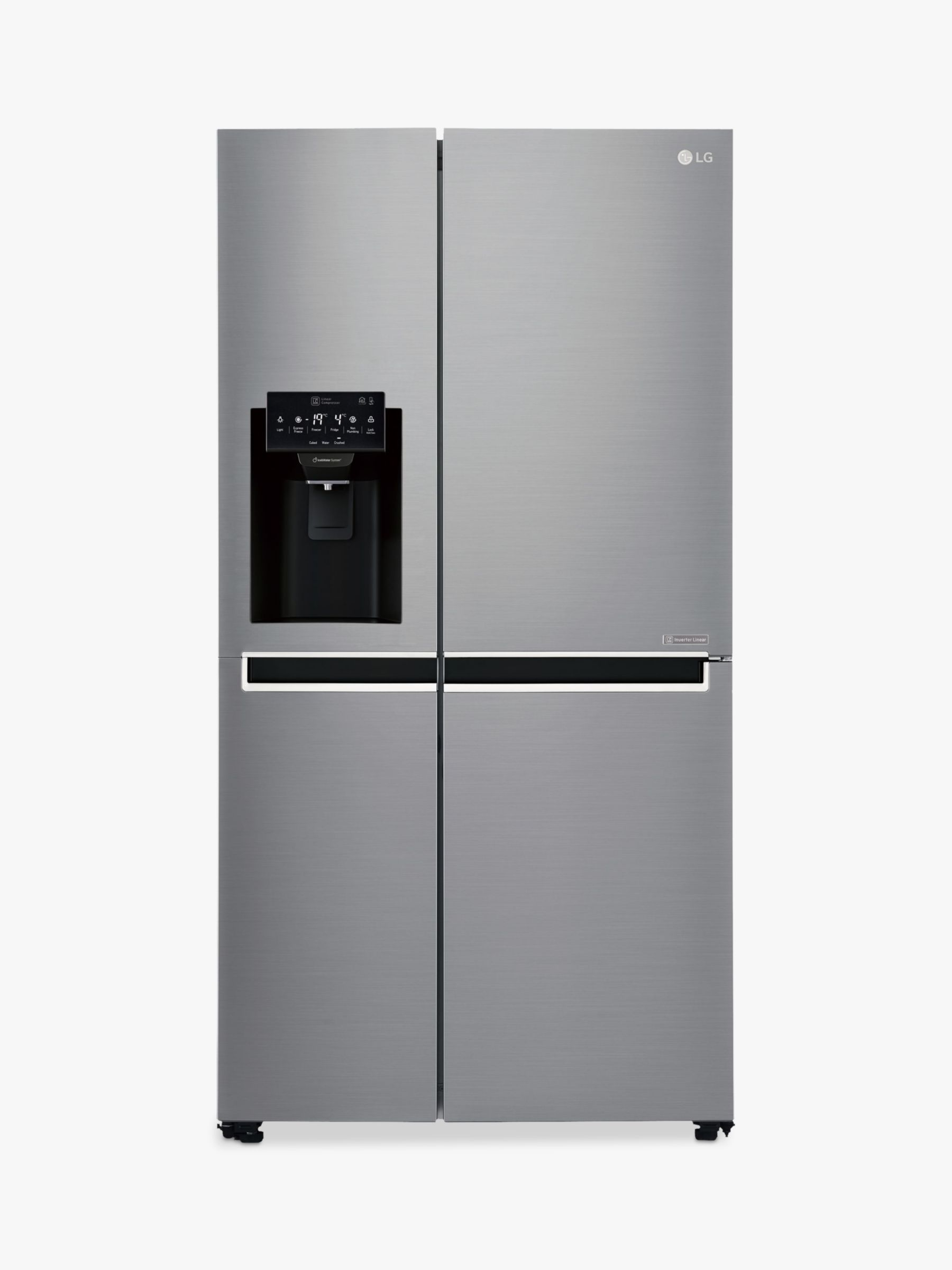 LG LG GSL761PZXV American Style Fridge Freezer, A+ Energy Rating, 90cm Wide, Non-Plumbed Water and Ice Dispenser, Shiny Steel