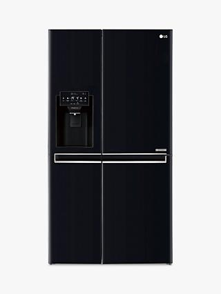 LG GSL761WBXV  American Style Fridge Freezer, A+ Energy Rating, 90cm Wide, Non-Plumbed Water and Ice Dispenser, Black