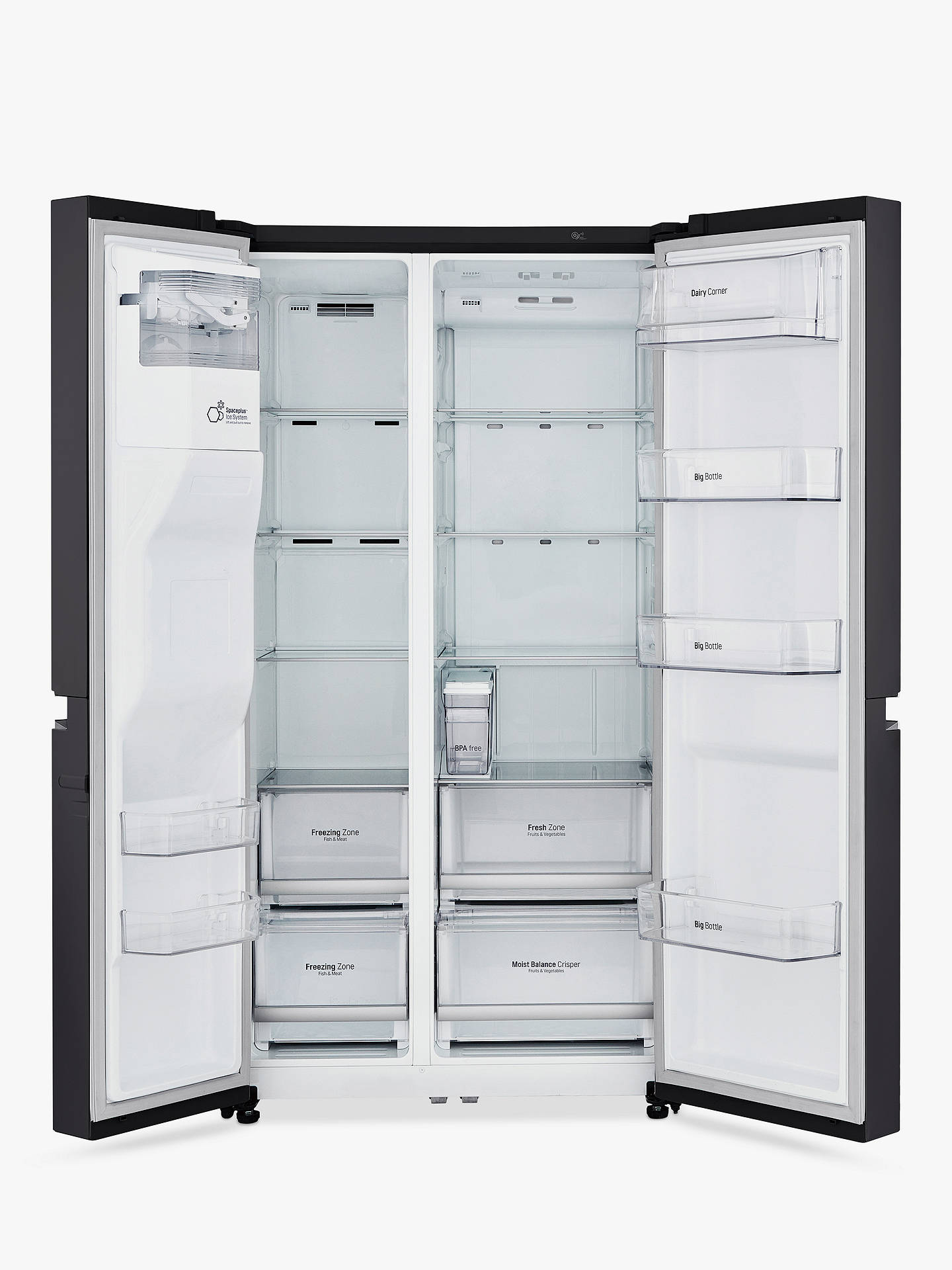 BuyLG GSL761WBXV  American Style Fridge Freezer, A+ Energy Rating, 90cm Wide, Non-Plumbed Water and Ice Dispenser, Black Online at johnlewis.com