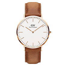 Buy Daniel Wellington DW00100109 Men's Classic Durham Leather Strap Watch, Tan/White Online at johnlewis.com