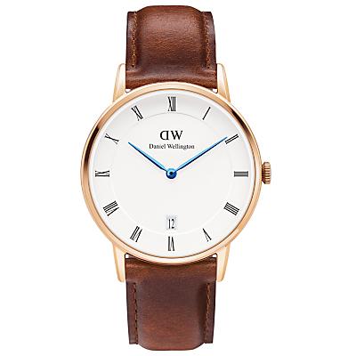Daniel Wellington DW00100091 Women's Dapper St. Mawes Leather Strap Watch, Brown/White