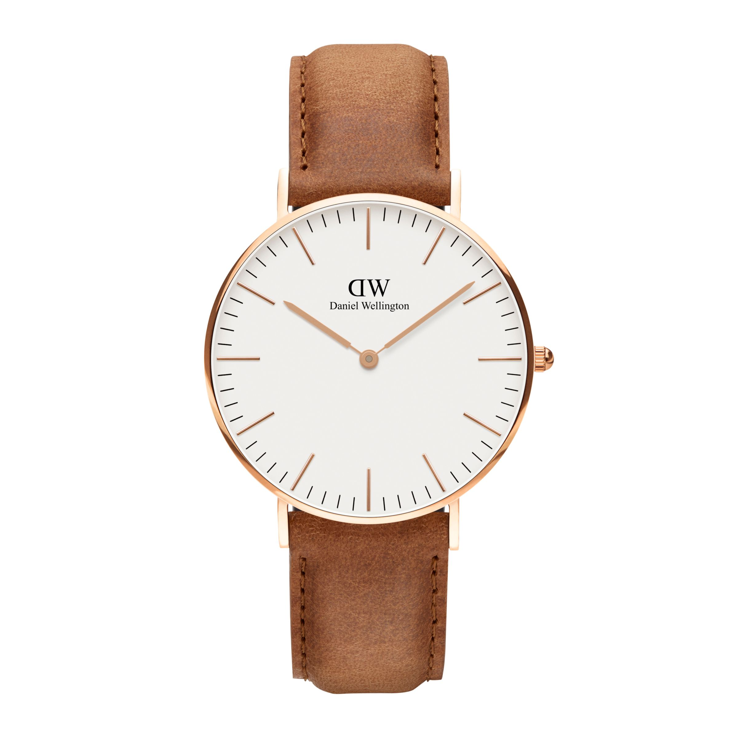 Daniel Wellington Daniel Wellington DW00100111 Women's 36mm Classic Durham Leather Strap Watch, Tan/White