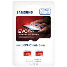 Buy Samsung EVO Plus Advanced Performance microSDHC UHS-I Memory Card, 32GB, 80MB/s Read Speed, Twin Pack Online at johnlewis.com