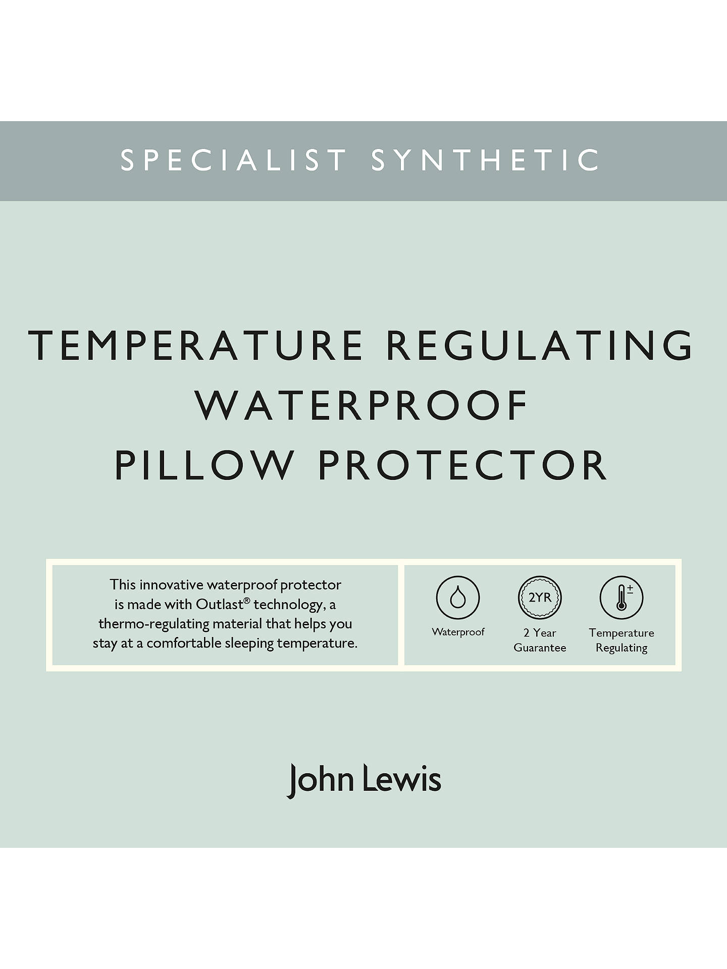 Buy John Lewis & Partners Specialist Synthetic Temperature Regulating Waterproof Standard Pillow Protector Online at johnlewis.com