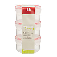 Buy Waitrose 180ml Round Storage Containers, Set of 3 Online at johnlewis.com