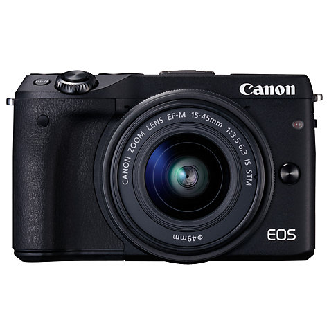 "Buy Canon EOS M3 Camera with EF-M 15-45mm IS STEM Lens, HD 1080p, 24.2MP, Wi-Fi, NFC, 3"" LCD Screen Online at johnlewis.com"