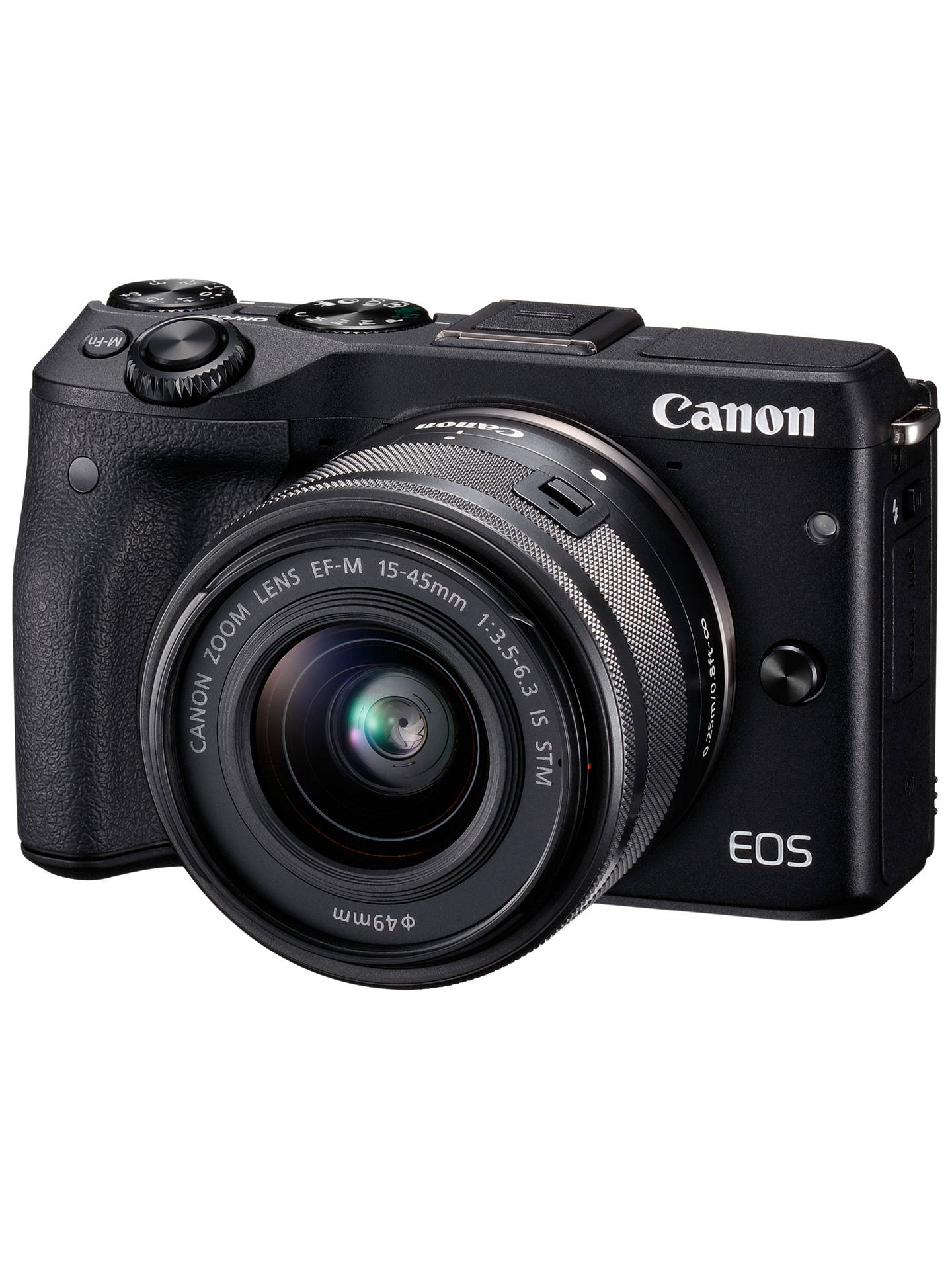 "BuyCanon EOS M3 Camera with EF-M 15-45mm IS STEM Lens, HD 1080p, 24.2MP, Wi-Fi, NFC, 3"" LCD Screen Online at johnlewis.com"