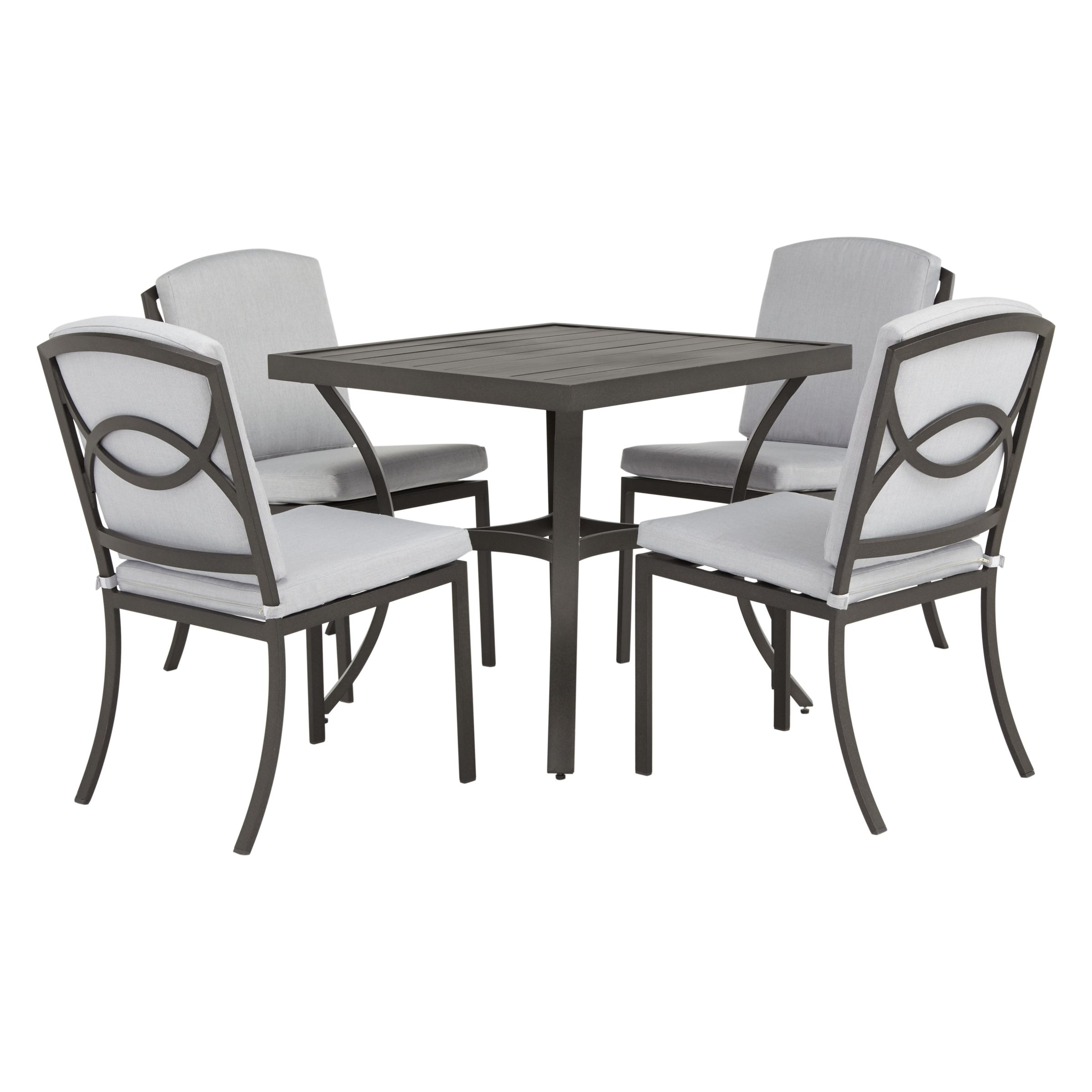 John Lewis & Partners Marlow Aluminium 4 Seater Garden Dining Table, Black/Grey