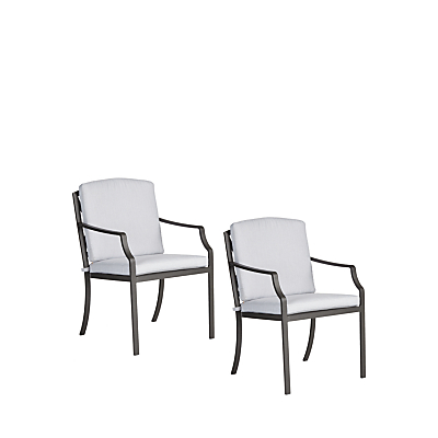 John Lewis Marlow Aluminium Outdoor Dining Armchair, Set of 2, Black/Grey