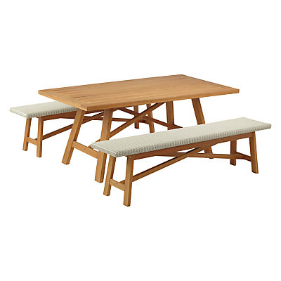 John Lewis Stockholm 6 Seater Dining Table & Bench Set, FSC-Certified (Eucalyptus), Natural