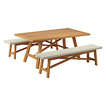 Buy John Lewis Stockholm 6 Seater Dining Table & Bench Set, FSC-Certified (Eucalyptus), Natural Online at johnlewis.com