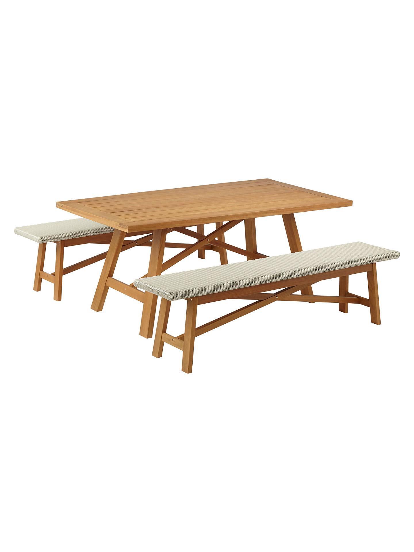 John Lewis Partners Stockholm 6 Seater Garden Dining Table Bench