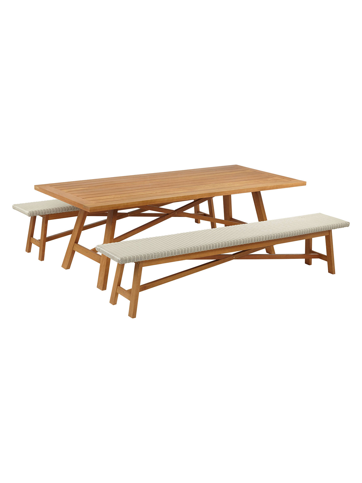 John Lewis Partners Stockholm 8 10 Seater Garden Dining Table Bench Set