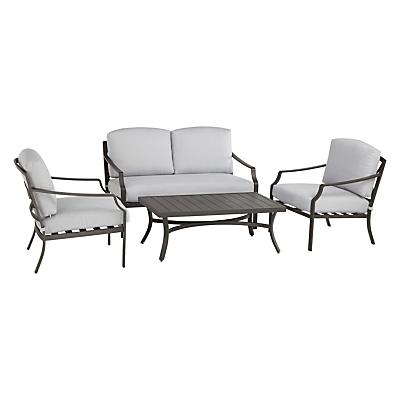 John Lewis Marlow Aluminium 4 Seater Lounge Set, Black / Grey