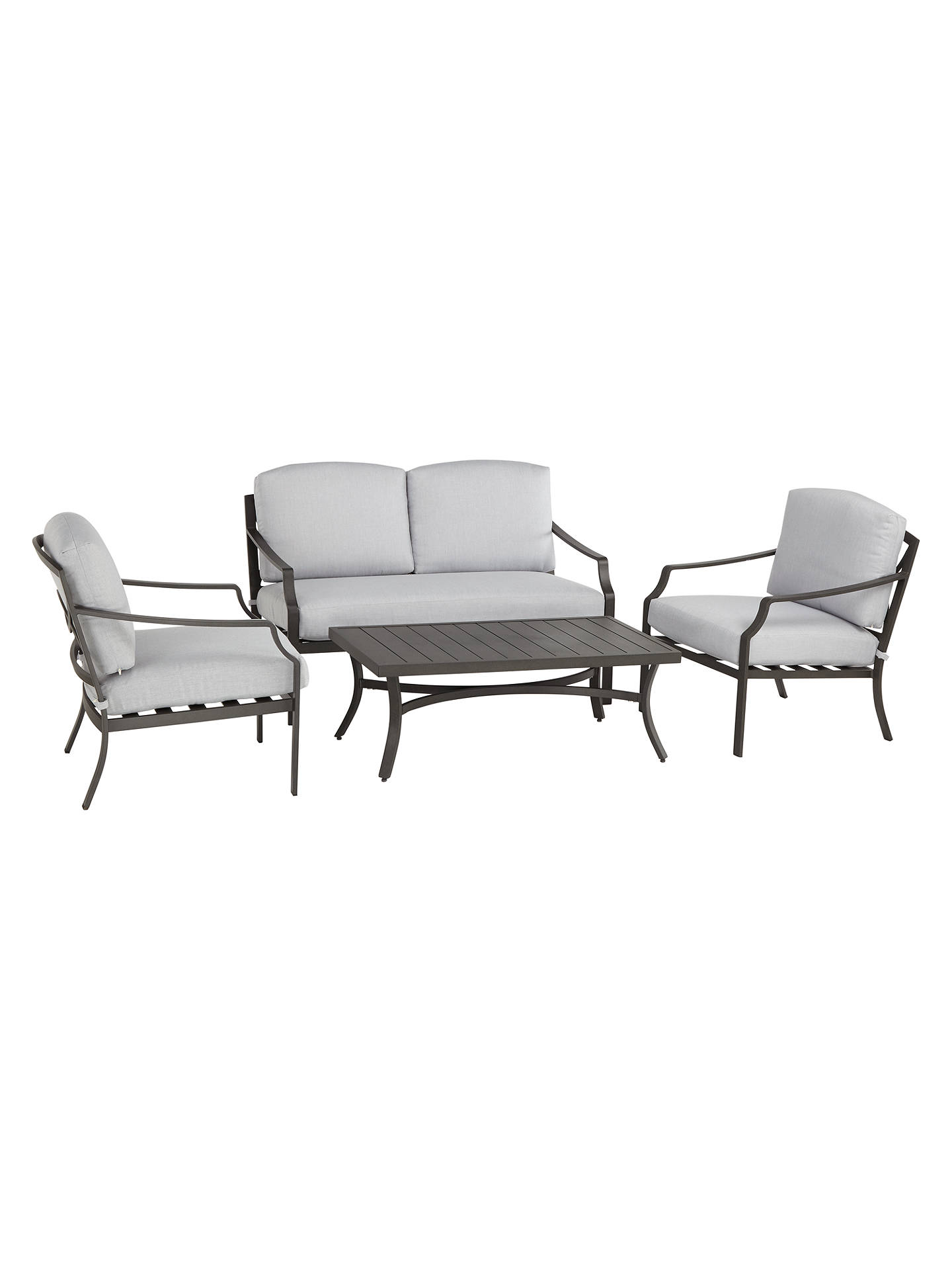 Buy John Lewis & Partners Marlow Aluminium 4 Seater Garden Lounge Set, Black/Grey Online at johnlewis.com
