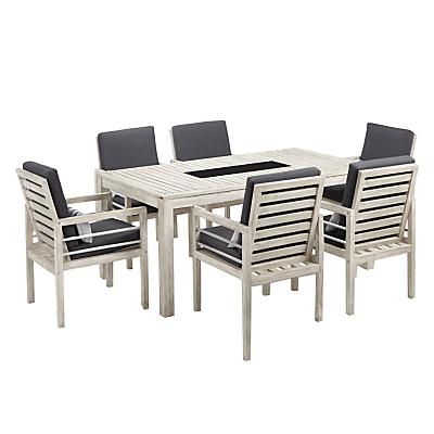 John Lewis Atlantic 6-Seater Dining Chair & Table Set, FSC-Certified (Acacia), Grey