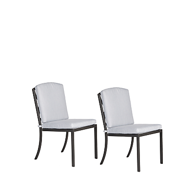 John Lewis & Partners Marlow Aluminium Dining Side Chairs, Black/Grey, Set of 2