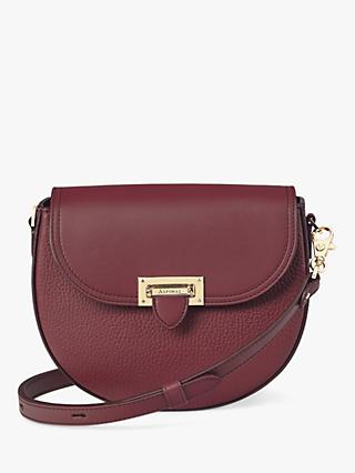 Aspinal of London Leather Letterbox Mini Saddle Bag, Bordeaux