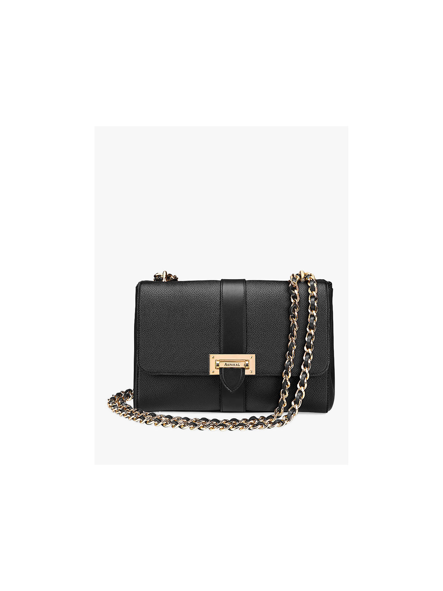 BuyAspinal of London Lottie Leather Large Cross Body Bag, Black Online at  johnlewis.com ... 81d32e1650