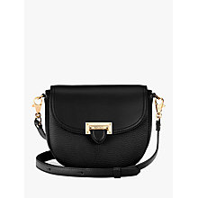 Buy Aspinal of London Leather Letterbox Mini Saddle Bag, Black Online at johnlewis.com