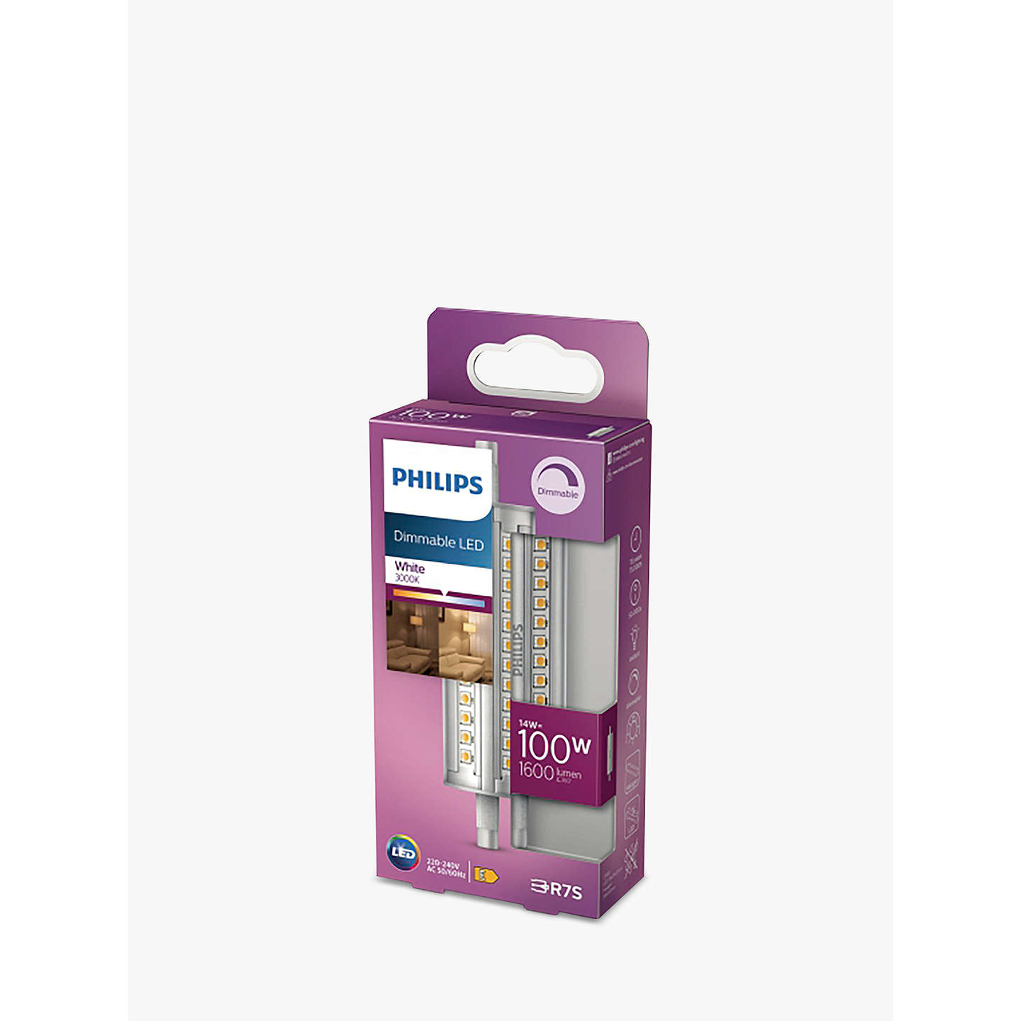 BuyPhilips 14W R7s LED Dimmable Tube Bulb, Clear Online at johnlewis.com