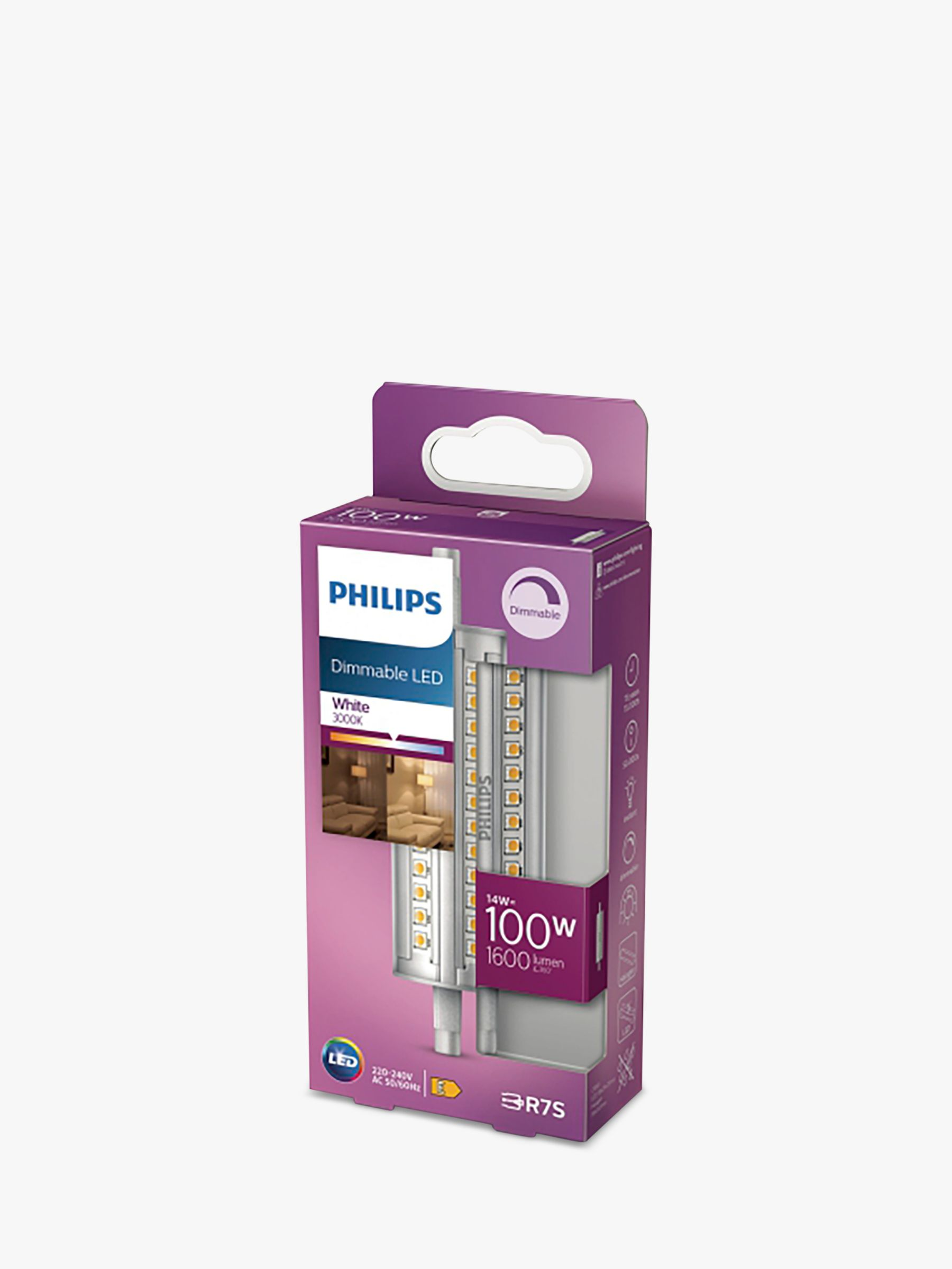 Philips Philips 14W R7s LED Dimmable Tube Bulb, Clear
