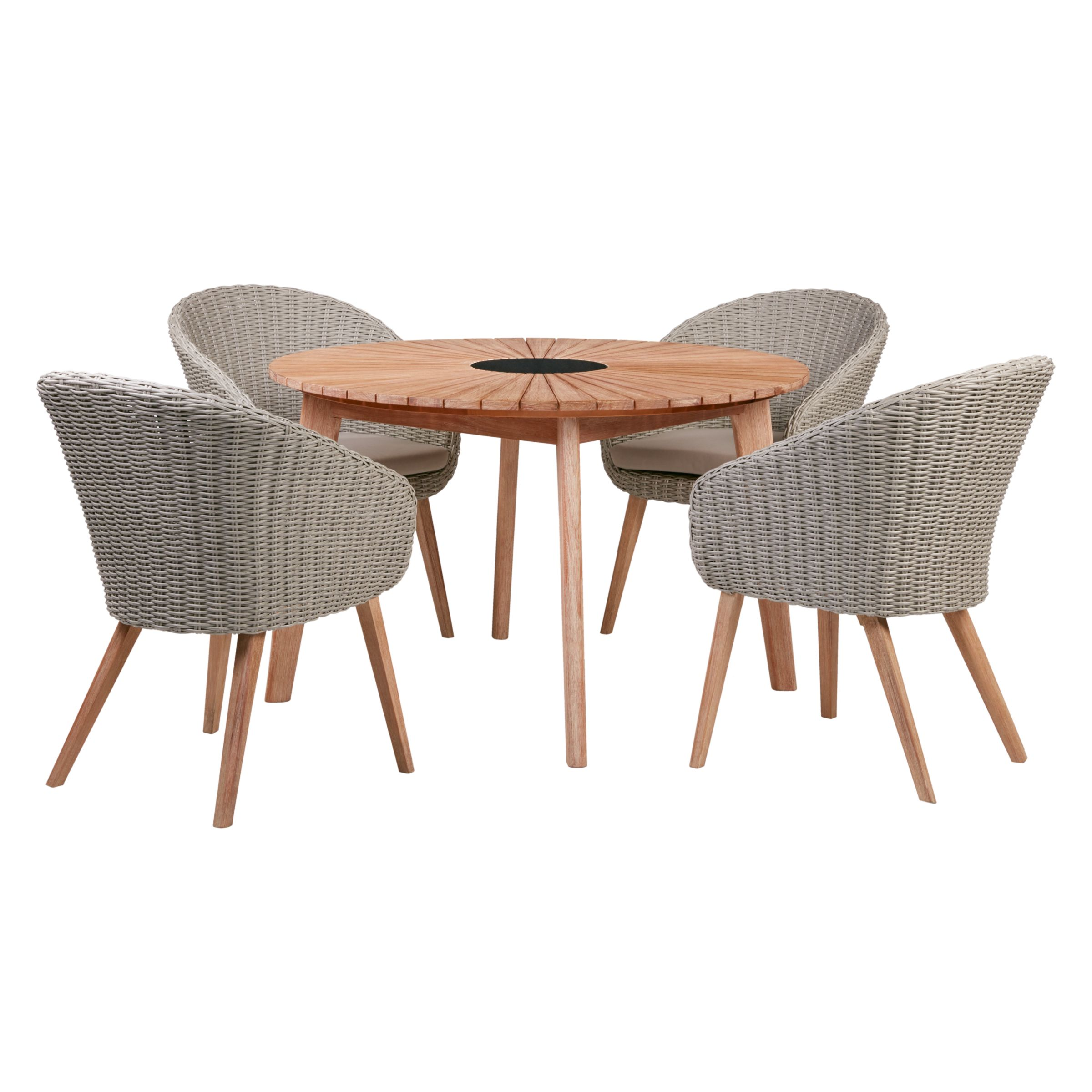 John Lewis Partners Sol 4 Seater Round Garden Dining Table Chairs Set Fsc Certified Eucalyptus Natural