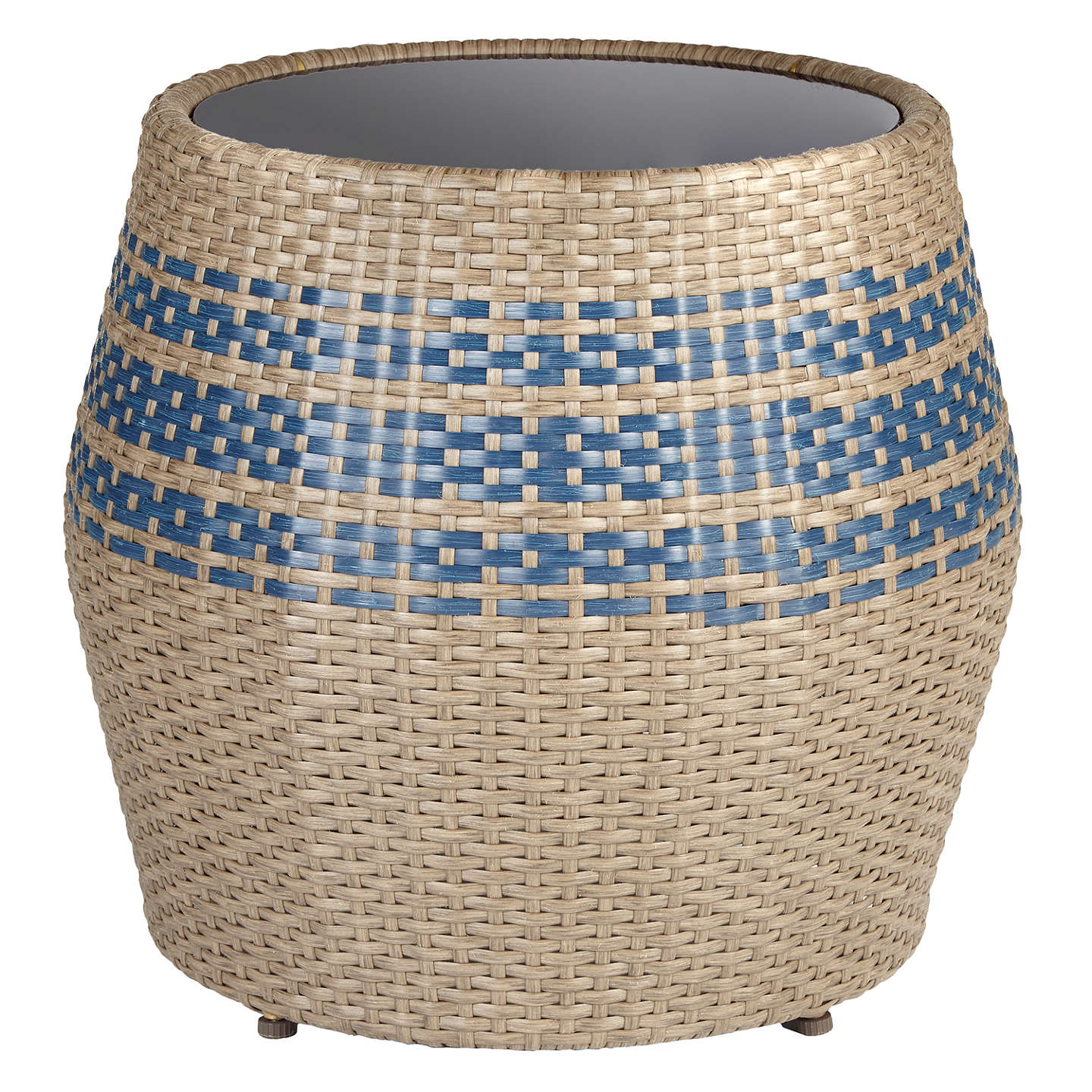 BuyJohn Lewis Havana Glass-Top Garden Table / Stool, Brown/Blue Online at johnlewis.com