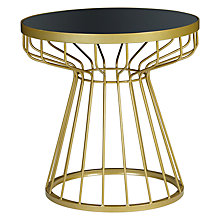 Buy John Lewis Havana Glass-Top Side Table, Brass / Navy Online at johnlewis.com