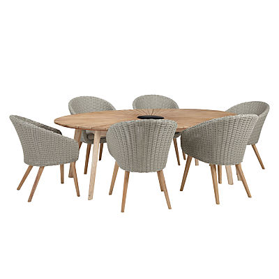 John Lewis Sol 6 Seater Oval Dining Table & Chairs Set, FSC-Certified (Eucalyptus), Natural