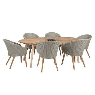 John Lewis Sol 6 Seater Oval Dining Table Chairs Set FSC Certified Eucalyptus Natural