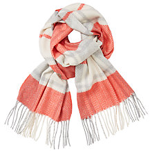 Buy John Lewis Cashmink Check Scarf, Coral Mix Online at johnlewis.com