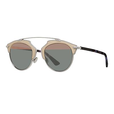 Christian Dior Diorsoreal Round Sunglasses, Black/Grey