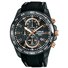 Buy Lorus RM317DX9 Men's Chronograph Date Silicone Strap Watch, Black Online at johnlewis.com
