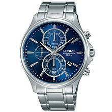 Buy Lorus RM309DX9 Men's Chronograph Date Bracelet Strap Watch, Silver/Navy Online at johnlewis.com