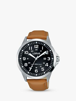 Lorus RH933GX9 Men's Date Leather Strap Watch, Camel/Black