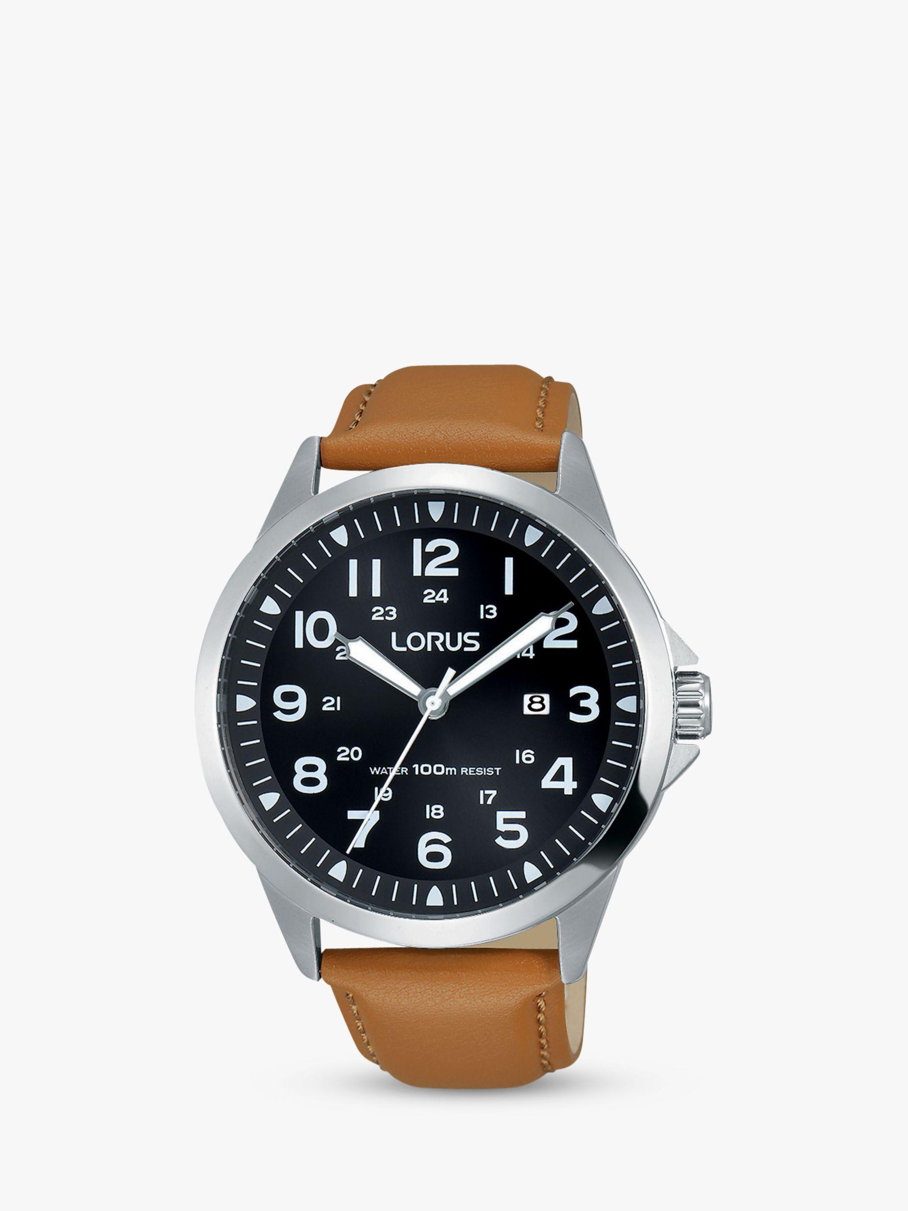 Lorus Lorus RH933GX9 Men's Date Leather Strap Watch, Camel/Black