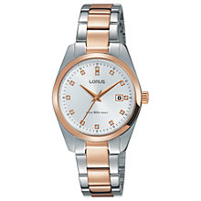 Buy Lorus RJ244BX9 Women's Crystal Date Bracelet Strap Watch, Rose Gold/Silver Online at johnlewis.com