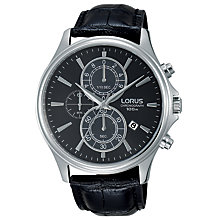 Buy Lorus RM313DX9 Men's Chronograph Date Leather Strap Watch, Black Online at johnlewis.com
