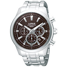 Buy Lorus RT359AX9 Men's Chronograph Date Bracelet Strap Watch, Silver/Brown Online at johnlewis.com